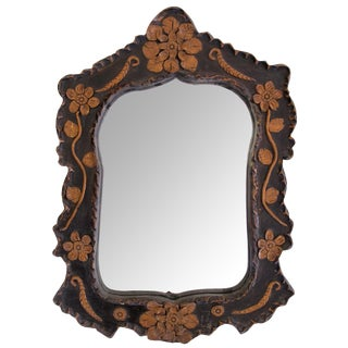 Whimsical French Folk Art Mirror With Raised Floral Relief Decoration For Sale