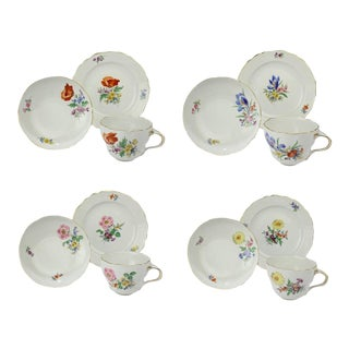 Meissen Porcelain Tea Cup Saucer & Plate Trios with Different Flowers - Set of 6 For Sale