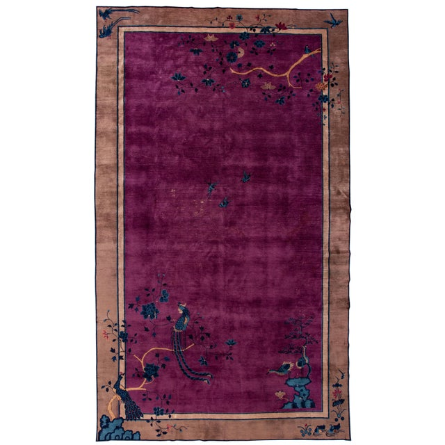 Antique Purple Chinese Mandarin Wool Rug 9 Ft 9 in X 16 Ft 3 In. For Sale - Image 11 of 11