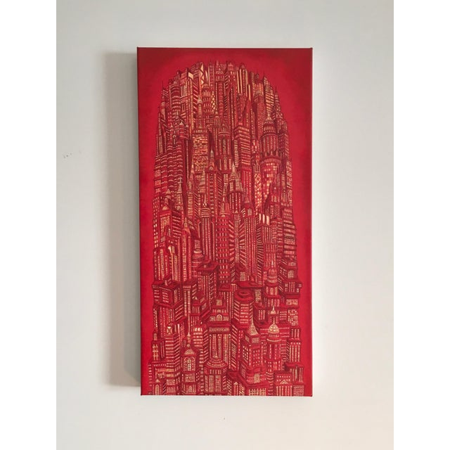 Red Tower is a painted cityscape by Colombian artist, Alexis Duque. It is highly detailed, acrylic on canvas, 24x12. This...