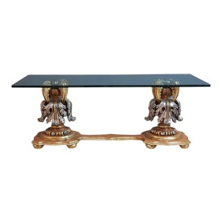 Italian Gilded Baroque Glass-Top Coffee Table For Sale