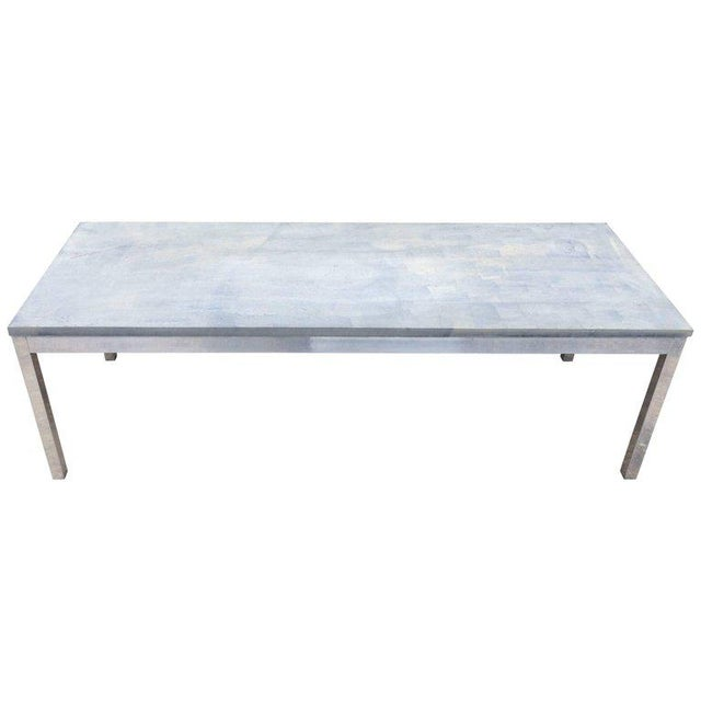 1990s Minimalistic Slate Coffee Table With Aluminum Base For Sale - Image 11 of 11