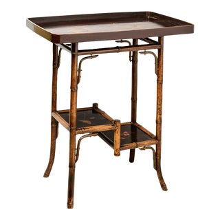 English Bamboo and Lacquer Tray Table For Sale