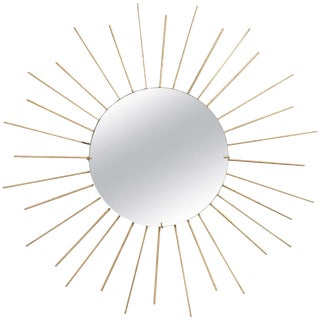 1960s Vintage French Brass Starburst Mirror For Sale