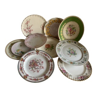 Set of Ten Mixed Vintage Fine China Plates For Sale