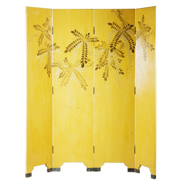 A raucously elegant, hand-painted, with gilded gold on Leather room divider screen by Seattle's Lawrence & Scott in...