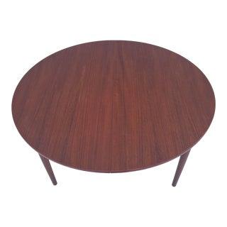 Scandinavian Modern Circular Teak Dining Table With Leaf For Sale