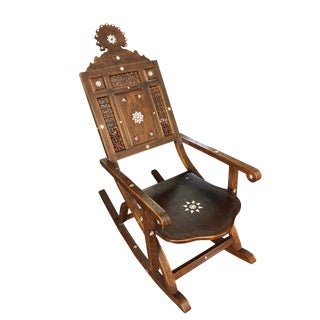 Moroccan Hand Carved With Mother of Pearl Inlay Rocking Chair For Sale