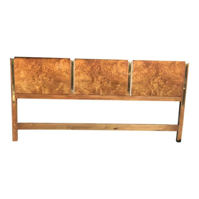 Vintage Thomasville Mid Century Olive Wood Burled King Headboard For Sale