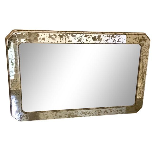 1930s Art Deco Silver Leaf Eglomisé Mirror For Sale
