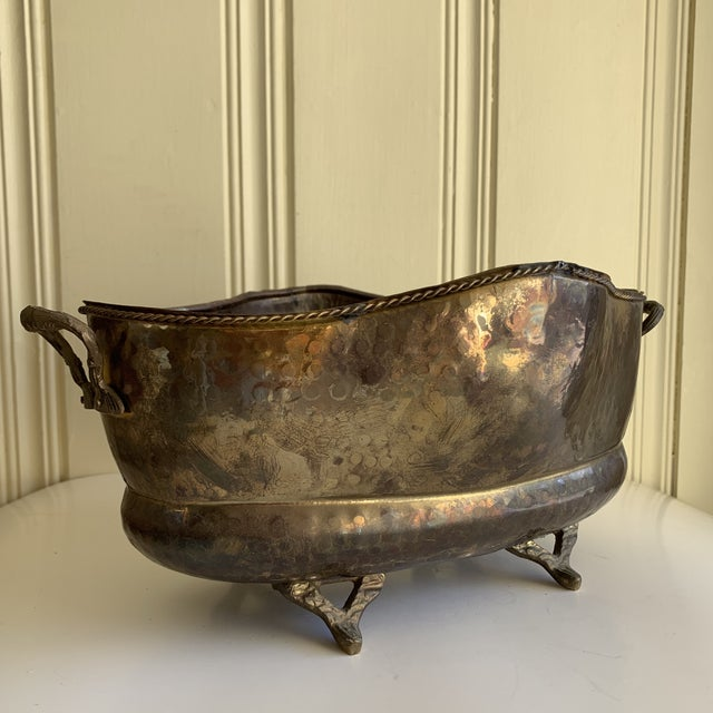 Classic English Cottage Style Aged Brass Plant Vessel For Sale - Image 11 of 13