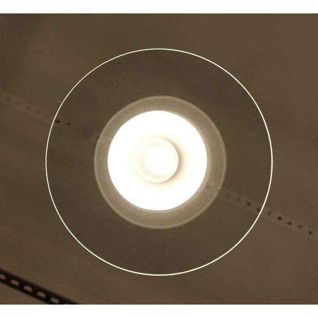 Modern Frosted Glass Pendant Light With Clear Disc For Sale - Image 4 of 6