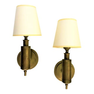 Mid 20th Century Thomas O'Brien for Visual Comfort Brass Wall Sconces With Shades - a Pair For Sale