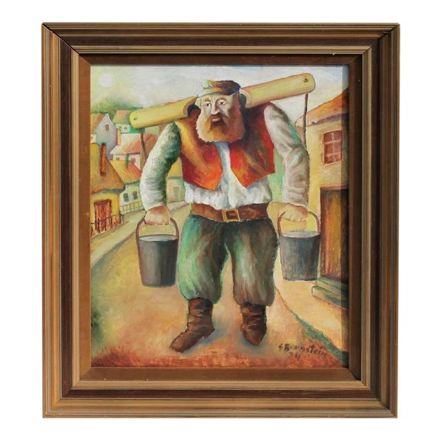 Signed and Dated Oil Painting of a Judaic Lumberjack For Sale
