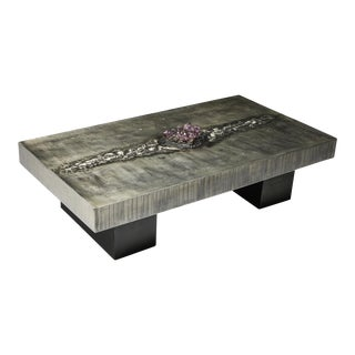 Aluminum Etched Coffee Table With Amethyst Inlay by Marc d'Haenens - 1970's For Sale