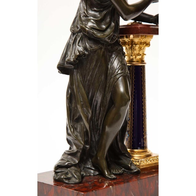 Exquisite French Bronze, Rouge Marble, and Sèvres Style Porcelain Sculpture For Sale In New York - Image 6 of 13