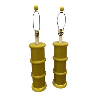 Yellow Mid-Century Glass Lamps - a Pair For Sale
