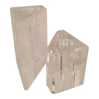 Pair of Angular Lucite Candlesticks For Sale