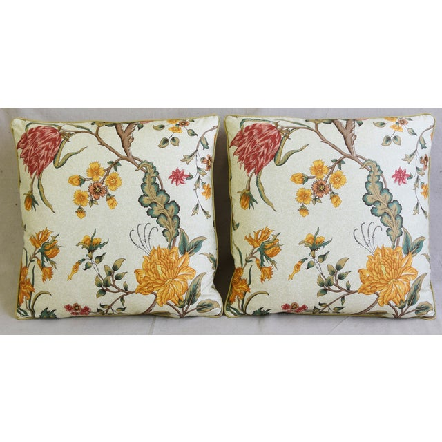 "Pair of custom-tailored pillows in Schumacher ""Arbre Fleuri"" printed floral cotton fabric. French green and off-white..."