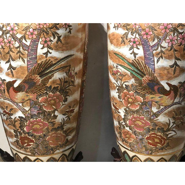 Pair of Chinese Palatial Vases Urns on Teak Pedestals Bird Decorated Signed Base For Sale - Image 4 of 13