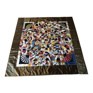 """Hand-Stitched Antique """"Crazy Quilt"""" From Late 1800's"""