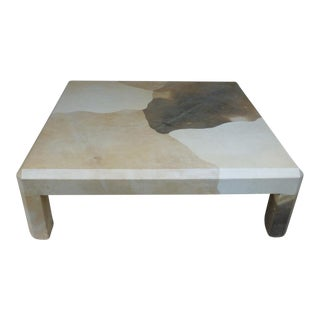 1970s Mid-Century Modern Karl Springer Cafe Con Leche Goatskin Coffee Table For Sale