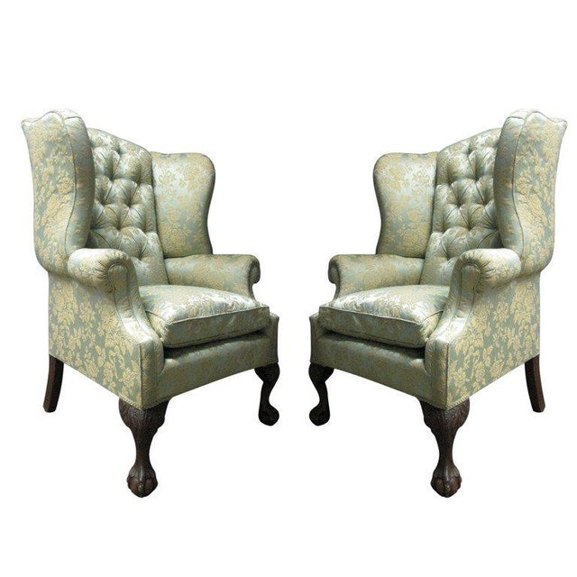 Gray Pair of Chippendale Style Tufted Wingback Chairs For Sale - Image 8 of 8
