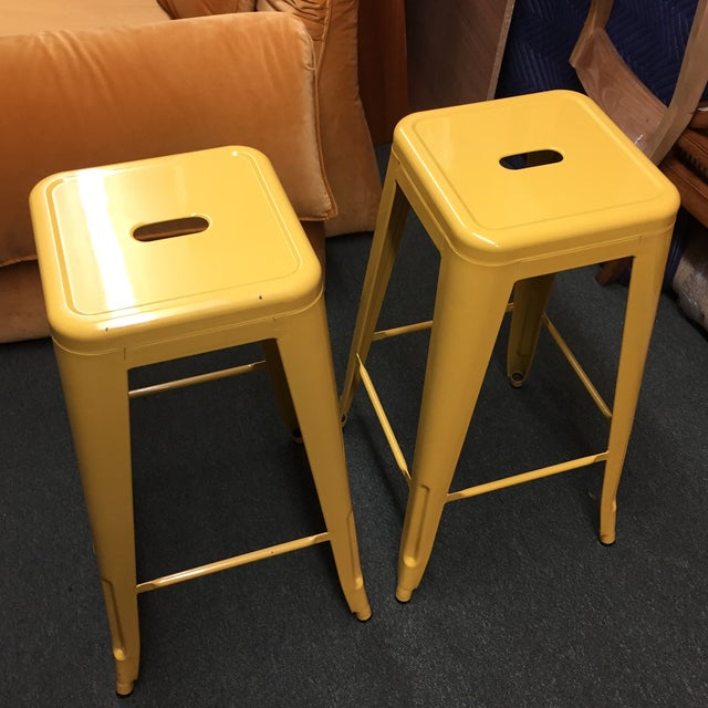 Yellow Painted Metal Bar Stools - A Pair - Image 3 of 7