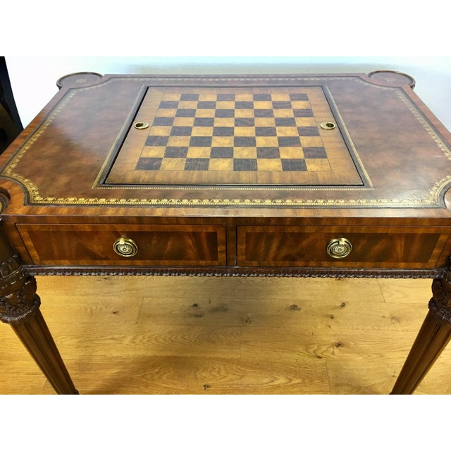 Maitland-Smith Carved Mahogany Game Table With Leather Top For Sale - Image 11 of 13