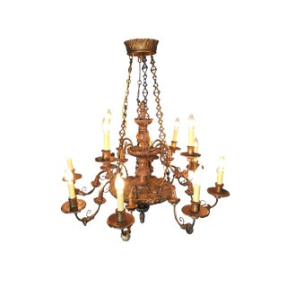 Custom Made Neo-Classic English 12 Arm Wood & Iron Chandelier For Sale