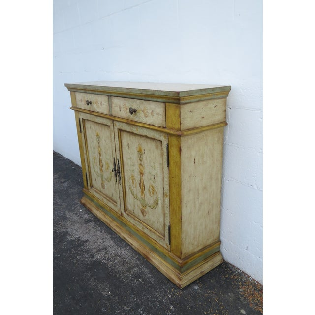 Wood French Shabby Shic Painted Distressed Tall Sideboard Buffet Narrow Console 2154 For Sale - Image 7 of 13