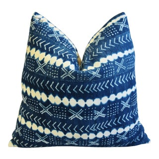 """Blue & White Mali Tribal Mud Cloth & Linen Feather/Down Pillow 22"""" Square For Sale"""