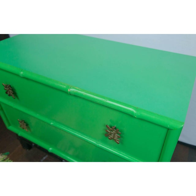 Green Pair of Asian/Chinoiserie Ficks Reed Faux Bamboo Chests For Sale - Image 8 of 9