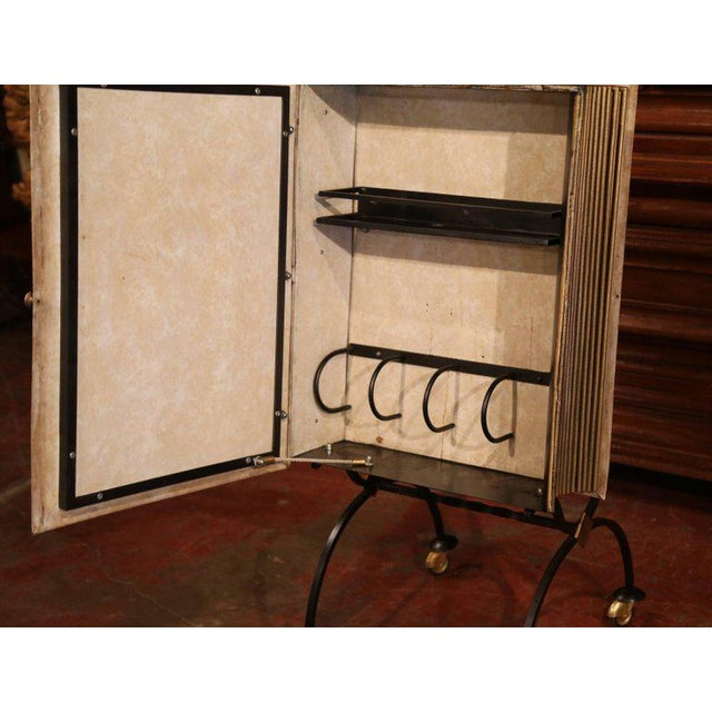 Mid 20th Century Mid-20th Century French Art Deco Leather and Iron Book Shape Liquor Bar Cabinet For Sale - Image 5 of 9