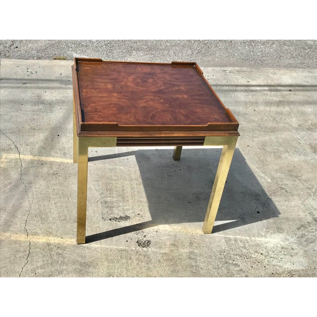 1970s Vintage Drexel Heritage Connoisseur Burl Wood and Brass Leg Side Table For Sale - Image 5 of 12