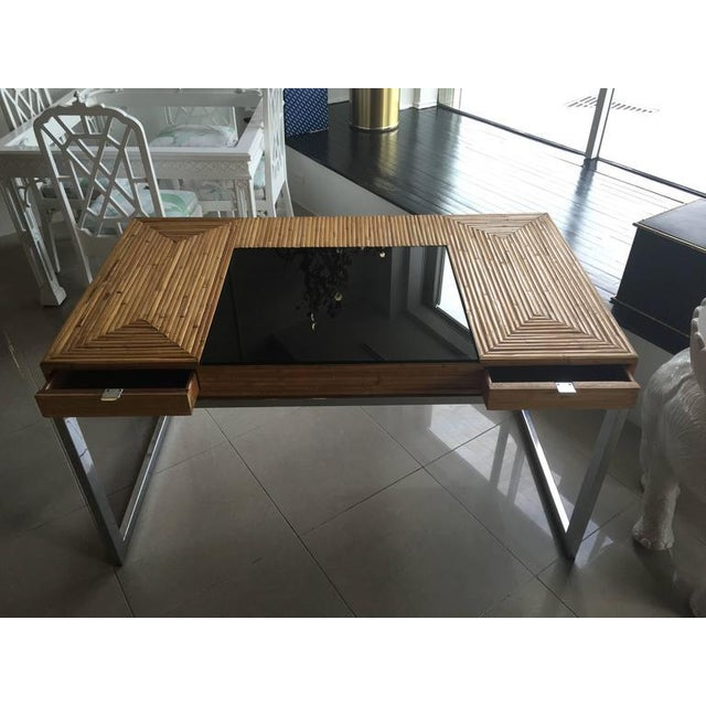 Milo Baughman Bamboo & Chrome Desk - Image 7 of 11