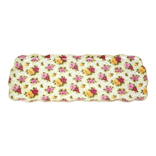 Vintage Rectangular Rose Chintz Tray by Baum Bros. For Sale