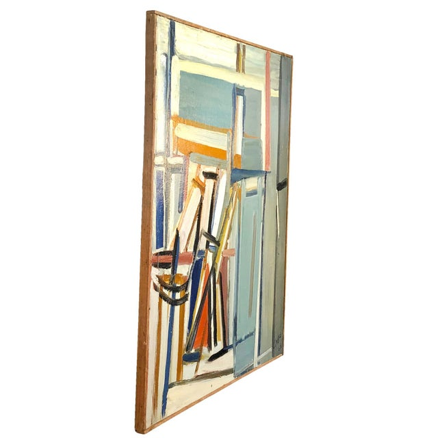An abstract painting 'Jeu D'espaces' on wood by Daniel Clesse, painted in France, signed and dated in 1968. Daniel Clesse...