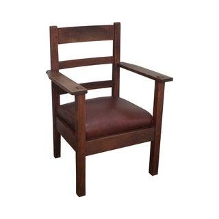 Lifetime Antique Mission Oak Leather Arm Chair