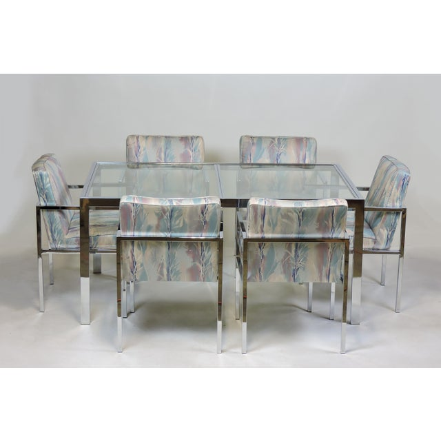 Handsome set of six dining chairs manufactured by high quality furniture maker, Design Institute of America. These are...