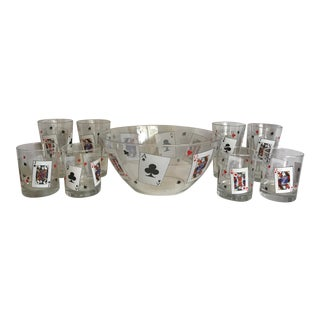 Vintage Set of Arcoroc French Poker Glasses and Bowl - Set of 9 For Sale