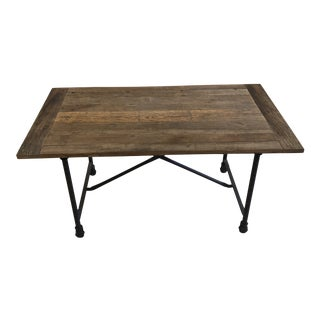 Rustic Restoration Hardware Reclaimed Wood Tables on Iron Casters For Sale