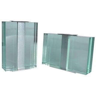 Pair of 1950s Fontana Arte Art Glass Vases For Sale