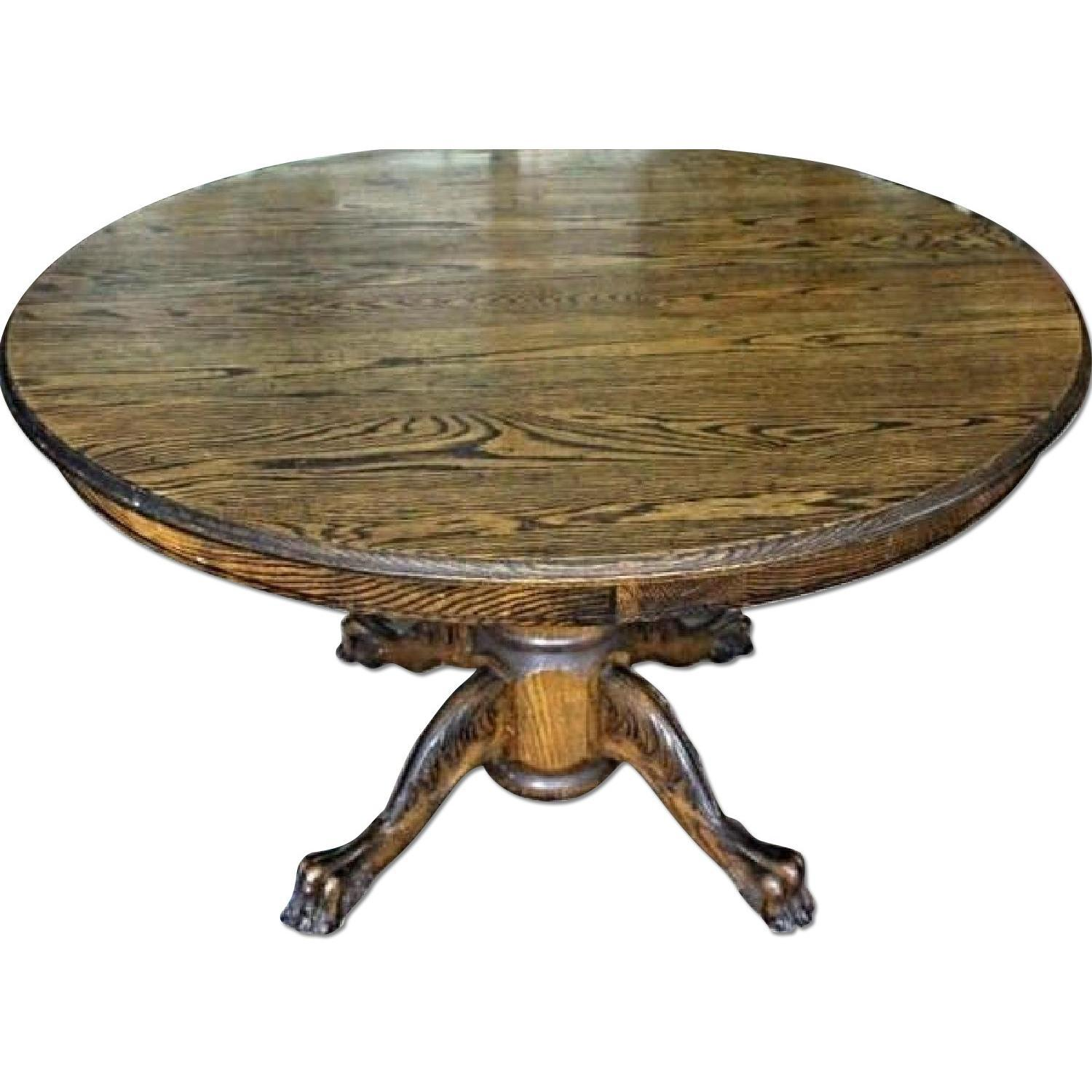Charmant Early American Oak Claw Foot Dining Table For Sale   Image 5 Of 6