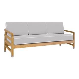 """Linley Large Sofa in Fashionable Grey with Nice White Welt, 75"""" For Sale"""