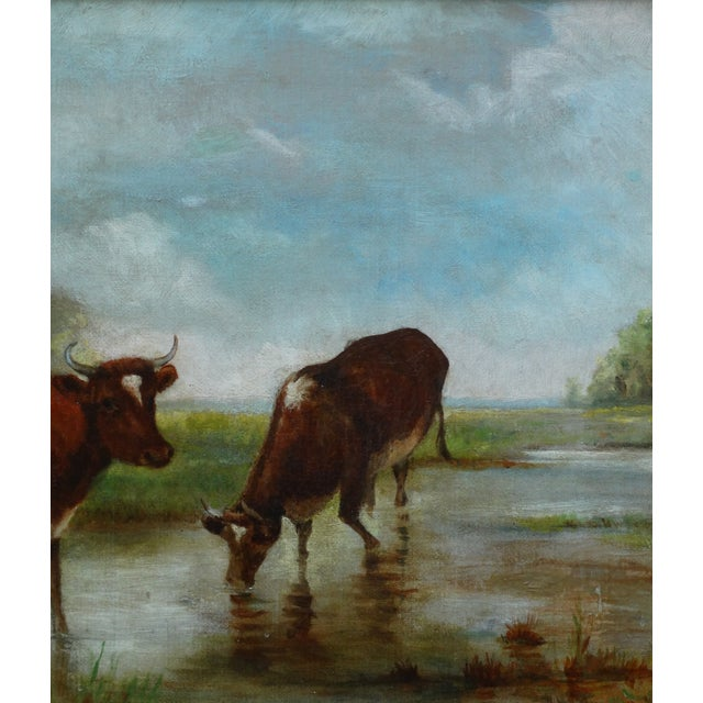 Late 19th Century Antique Continental School Cattle Oil Painting For Sale - Image 5 of 9