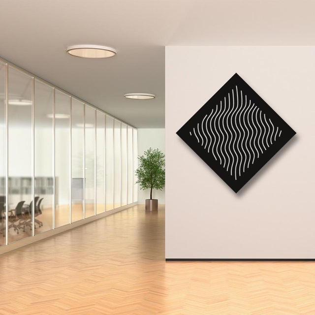 Pop Art Chuck Krause Waves (Black & White), original three dimensional geometric design wall relief 2020 For Sale - Image 3 of 4