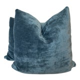 "Image of G P & J Baker ""Vintage Velvet"" in Teal 22"" Pillows-A Pair For Sale"