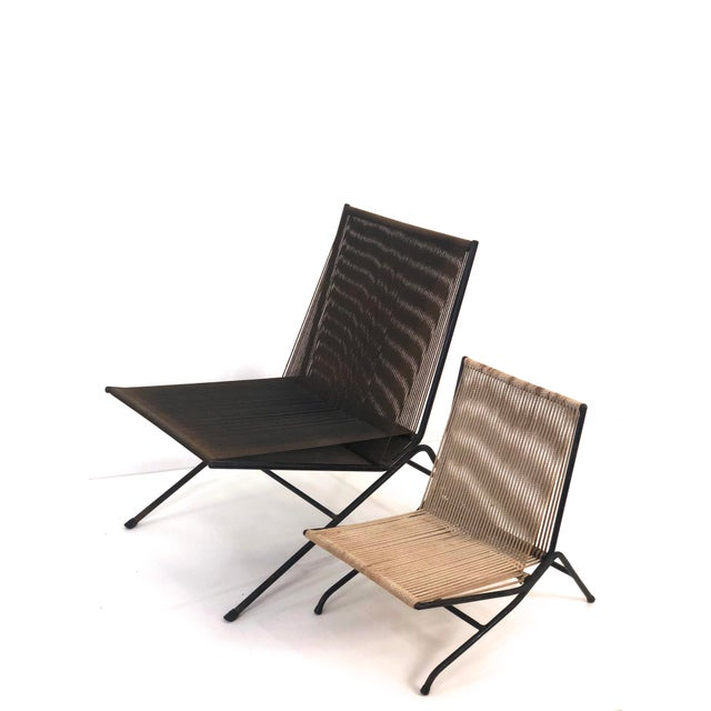 Metal Allan Gould String Lounge Chair and Ottoman, 1952 For Sale - Image 7 of 10