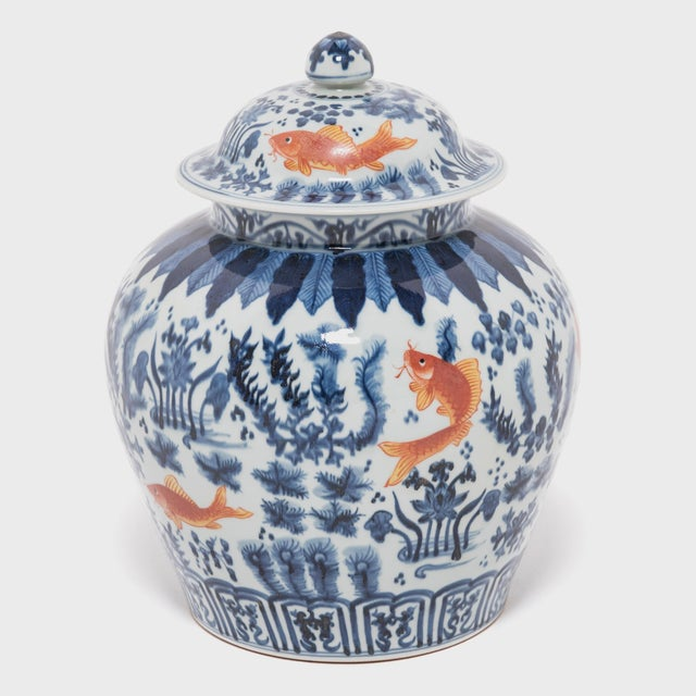 Chinese Underglaze Indigo and Copper Fish Jar For Sale - Image 4 of 7